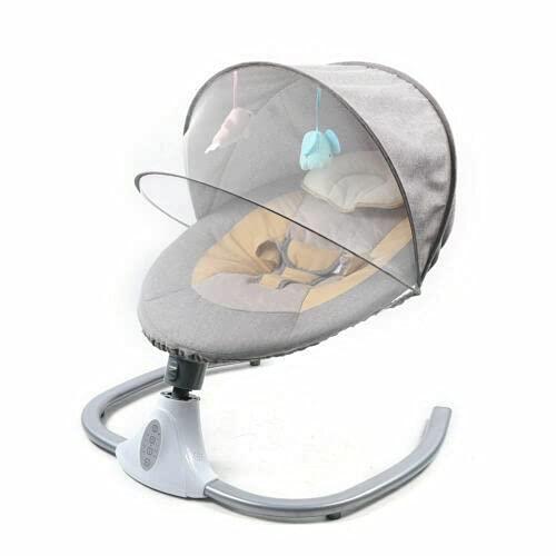 Babyblume - Sdraio da porta con telecomando elettrico, pieghevole, con Bluetooth + lettore MP3 + telecomando per 0-12 mesi, 3-12 kg, colore: Rosa/Grigio