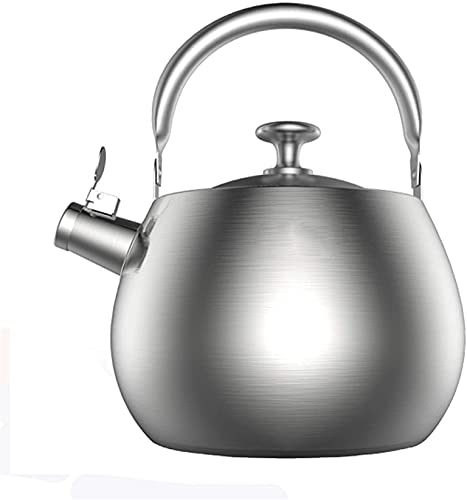 Ronglibai Tetera inducción Tetera Acero Inoxidable Teteras para fogón Whistling Kettle Top Whistling Tea Hervidor-Tetera quirúrgica de Acero Inoxidable con Mango ergonómico Cool Toch, 1 manopla de