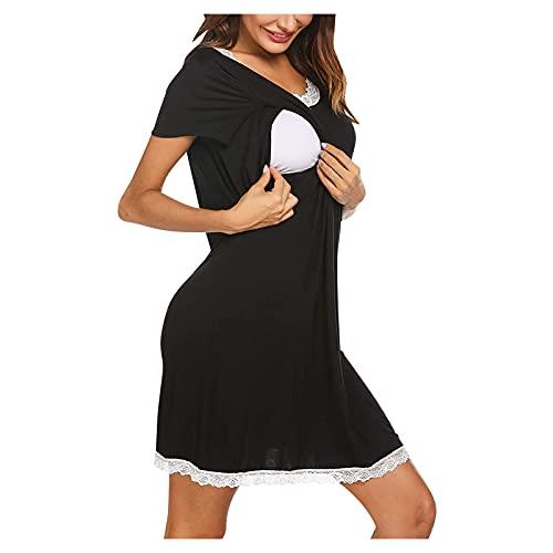 Vuncio Vestido de maternidad de verano, manga corta, tallas grandes, mini vestido de encaje, vestido de maternidad, vestido largo, elegante, informal, a rayas, ropa de ocio Negro S