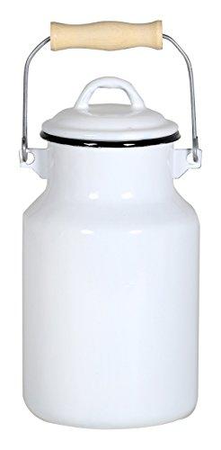 Krüger 77131 Milchkanne, Emaille, weiß, 13 x 13 x 25,5 cm