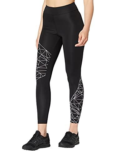 Marchio Amazon - AURIQUE Leggings Sportivi con Stampa Optic Donna, Nero (Black/White), 42, Label:S