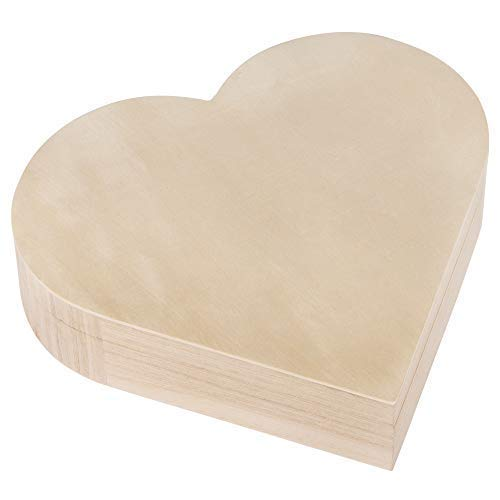 Rayher 62841505 Houten doos hart, 25,3 x 24 cm, hoogte 6 cm, met magneetsluiting, FSC-gecertificeerd, hartvormige doos, hartdoos