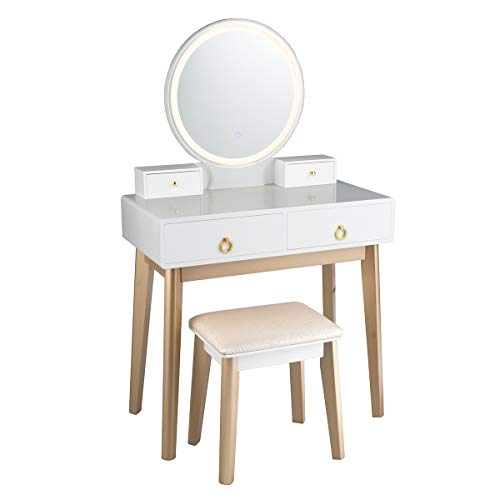 Nightcore Vanity Set, Touch-Screen LED Round Mirror, Dressing Table with Cushioned Stool, White