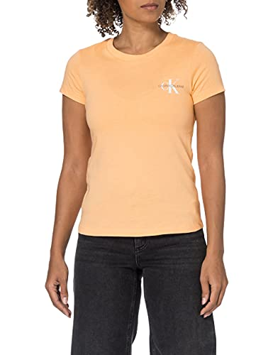 Calvin Klein Jeans 2 Pack Slim T-Shirt Camiseta, Naranja Triturado/Blanco Brillante, M (Pack de 2) para Mujer
