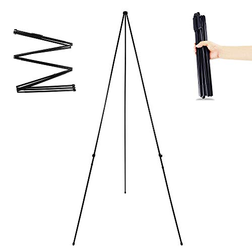 Folding Display Easel Stand, 66' Tall Floor Poster Easel, Adjustable Telescoping Art Easel, Painting Easel Stand, Easy Assembly, 1 Pack