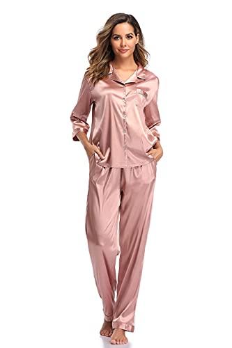 SHEKINI Damen Klassische Zweiteiliger Schlafanzug mit Hose mit Gummibund am Einfarbige Nachthemd Satin Nachtwäsche Knöpfen Pyjama Sleepwear(Stil 3 Pyjamas Set-Rosa,S)