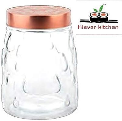 klever kitchen Mondarian Glass Jar with coppor Color lid, 1300ml, 1-Piece, Clear