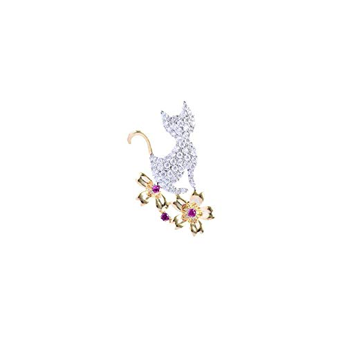 Bonitos broches de cristal con flores de gato para mujer, pasadores de...