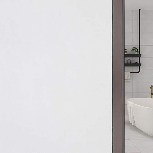 FEOMOS Weiße Fensterfolie Blickdicht Sichtschutzfolie Selbstklebend 100% Lichtundurchlässig Scheibenfolie Statische Dunkel für Schlafzimmer Badezimmer 90cm x 200cm