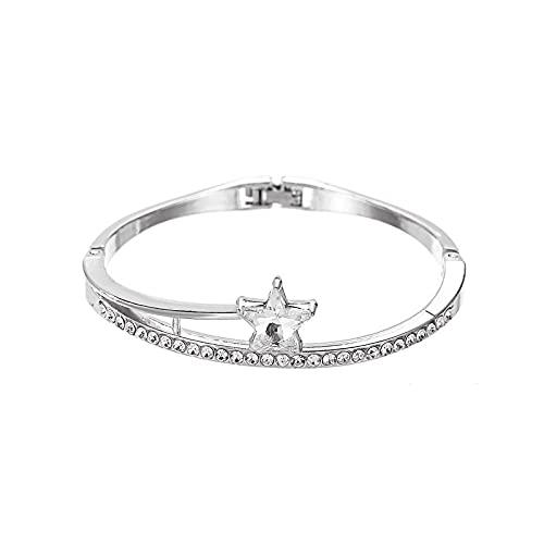 ShZyywrl Pulsera Pulsera Geométrica Cruz Oro Rosa Estrella De Cinco Puntas Cristal Metal Charm Pulsera Mujer Regalo 8
