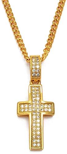 Aluyouqi Co.,ltd Collar con Dije de Cruz Collares con Colgante Mujeres Hombres Color Dorado Collar de circonita cúbica joyería Religiosa Cristianismo católico