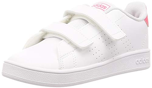 adidas Advantage I, Scarpe da Ginnastica, Ftwr White/Real Pink S18/Ftwr White, 21 EU