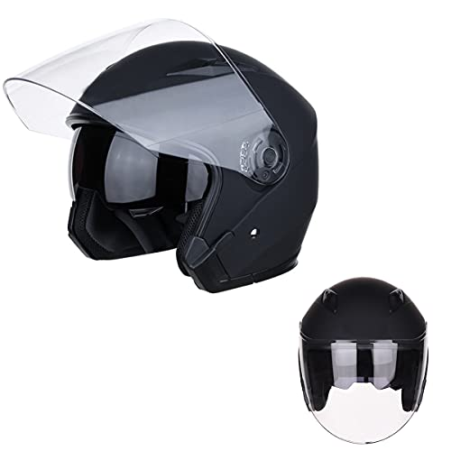 Moto de casco de cara abierta 3/4 retro motocicleta medio casco retro medio casco motocicleta para hombres adultos mujeres con visera doble hombres mujeres verano scooter luz cáscara ciclomotor,1,L