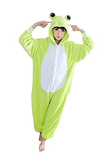Mono Kigurumi para Usar como Pijama o Disfraz para Carnaval, Halloween o Cosplay; Unisex, con diseño de Animales: Unicornio, búho, Stitch, Cebra, Jirafa, Vaca - L - Rana Verde Chiaro