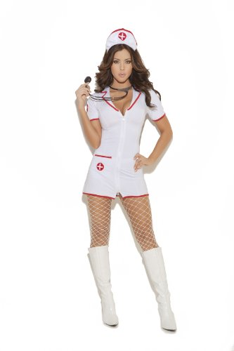 Sexy Women's Head Nurse Uniform Adult Roleplay Costume, Small, White