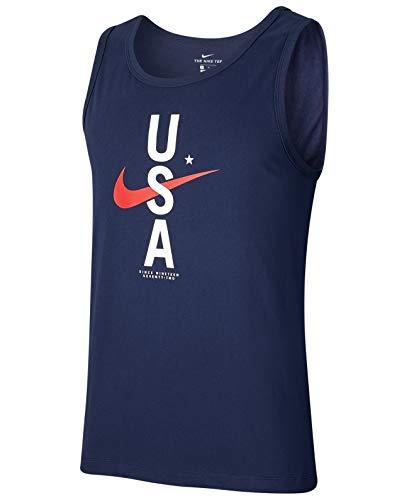Nike Mens Round Neck Sleeveless USA Tank Top (XX-Large, Obsidian)