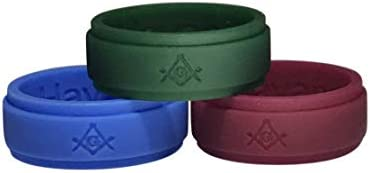 Masonic Ring Silicone 3 Pack Blue Green Maroon 8 product image