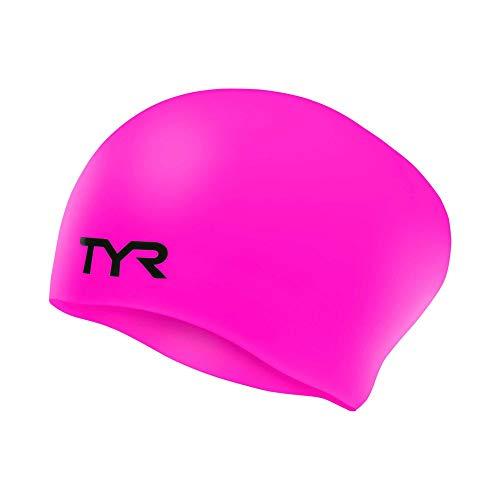 TYR Long Hair Wrinkle-Free Silicone Swim Cap, Pink