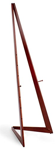 Displays2go BFE6CC Wooden Bifold Display Easel with 2 Height-Adjustable Pegs, 65-Inch Height Floor-Standing Art Easel for Indoor Use, Cherry, Wood