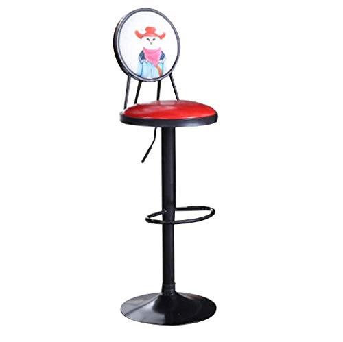 XNLIFE Nordic Bar Kruk Amerikaanse Retro Smeedijzeren Draaibare Stoel Thuis Hoge Kruk Cafe Kruk Lift Tafel En Stoel Industriële Stijl Verstelbare Hoogte Stoel Hoge stoel