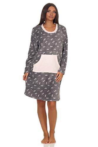 NORMANN-Wäschefabrik Wunderschön kuscheliges Damen Nachthemd aus Coralfleece in toller Optik - 202 218 900, Farbe:grau, Größe:44/46