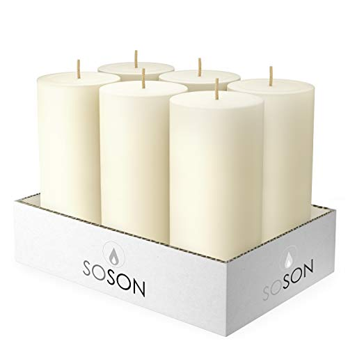 Simply Soson 3x6 Inch Cotton Ivory Smooth Long Burn Pillar Candles Bulk, Unscented, Drip-Less Candle Sticks. Cotton Wick Scent Free Paraffin Wax. Slow Burning Party and Home Decoration (Pack of 6).