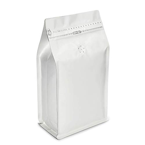 White Kraft Paper Stand Up Coffee Bag/Flat Bottom Coffee Pouch with One Way Degassing Valve and Reusable Side Zipper(Pull Tab to Open) (16oz, 1lb, 50 Pieces)