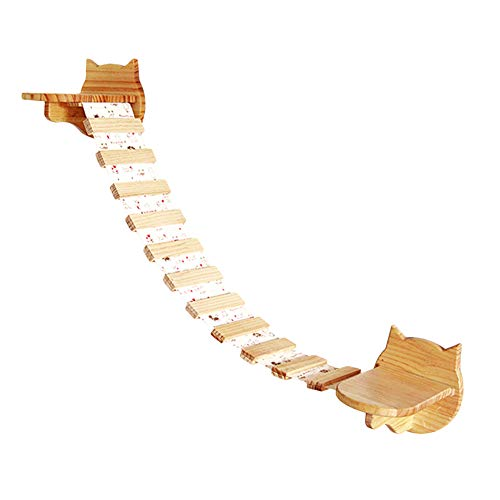 Rain Queen Ponte di Gatto Etagère Scale hammc Legno Tela Parete Supporto sospeso Albero di Gioco Lunga: 80cm Fatto a Mano