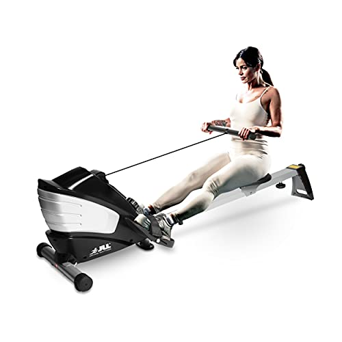 JLL® R200 Home Rowing Machine, 2020 Model Rowing Machine Fitness Cardio Workout with Adjustable Resistance, Advanced Driving Belt System, 12-Month Warranty, Black and Silver Colour