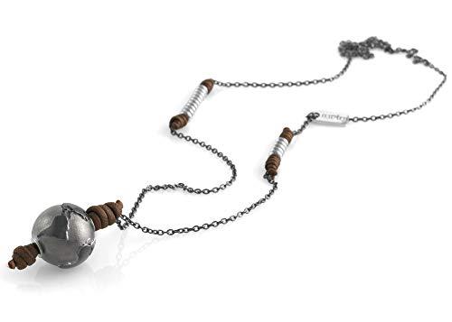 Collar de plata 925 con diamante y cordón, para mujer y hombre, pulsera de viaje artesanal, ajustable, hecho a mano en Italia Terra Di Siena