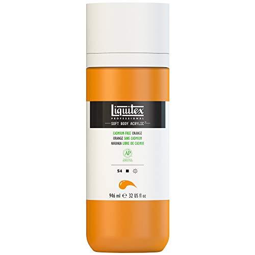 Liquitex 1964892 Soft Body farba akrylowa, akrylowa, bez kadmu pomarańczowa, butelka z dozownikiem, 946 ml