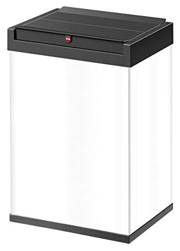 Hailo Big-Box Swing L Mülleimer | 1 x 35 Liter | selbstschließender Schwingdeckel | Stahlblech | Müllbeutel-Klemmrahmen | Mülleimer Küche rechteckig | Abfalleimer made in Germany | weiß