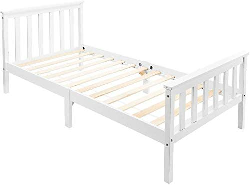 Bed Wooden Frame White Solid Pine for Adults, Kids, Teenagers (90*190cm)