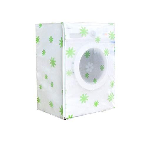 Vosarea Waschmaschine Abdeckung Grüne Blumen Mustern Wasserdicht Staubdicht Deckel für Waschmaschine Frontlader Wärmepumpentrockner