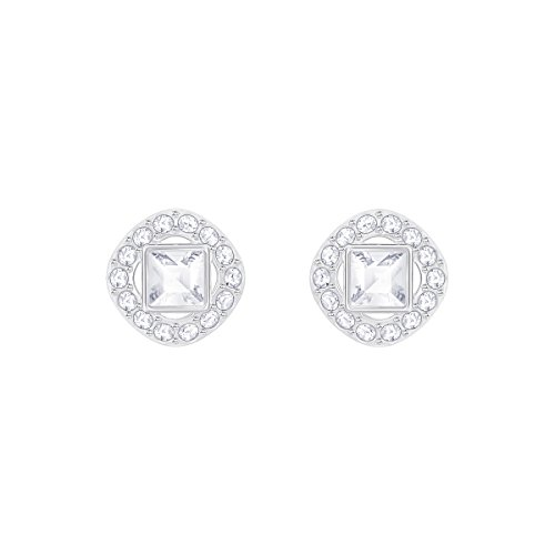 Swarovski Women's Angelic Square Earrings, Brilliant White Crystals with Rhodium Plated Metal, from the Swarovski Angelic Square Collection