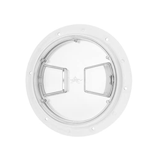 YUUGAA Escotilla para Barco, escotilla de Acceso a la Cubierta del Barco Cubierta Transparente Placa de ABS Redonda Blanca para yate Marino RV(6 Inches)