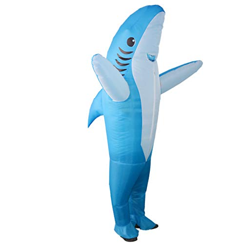 SIREN SUE Inflatable Shark Costumes for a Halloween and Christmas Show Cosplay Jumpsuit Blue, Large