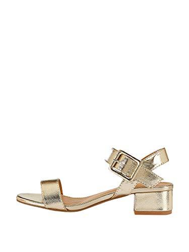 Marypaz, Damen-Sandalen mit niedrigem Absatz, metallisch, mit Schnalle, goldfarben, Gold - gold - Größe: 38 EU