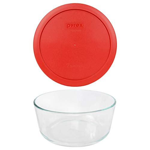 Pyrex (1) 7203 7 Cup Glass Dish & (1) 7402-PC 6/7 Cup Poppy Red Lid