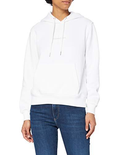 Calvin Klein Jeans Monogram Logo Hoodie Suter, Blanco Brillante, M para Mujer