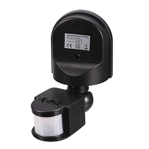 uxcell Motion Sensor Switch AC 110V-240V Outdoor Adjustable Infrared Body Motion PIR Sensor Detector Motion Sensor Light Switch Black