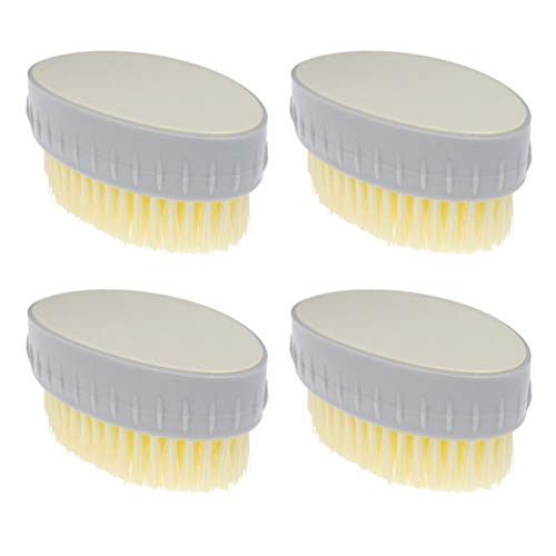 Cabilock 4 stuks wasborstel ovale borstels krachtige huishoudelijke reinigingsborstels voor badkamer keuken thuis sneakers beige