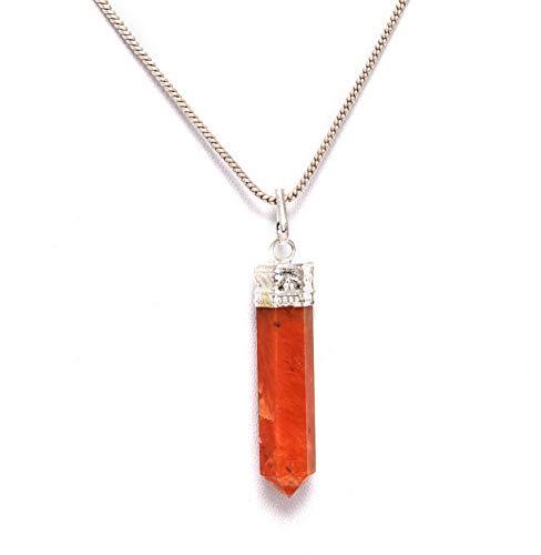 Blessfull Healing Reiki Espiritual Fe Curación Gemstone Bullet Bionize Collar Colgante de piedra cornalina
