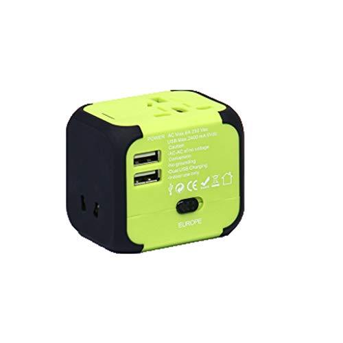 PIAOLING Adaptador Universal de Viaje, convertidor de energía de Enchufe Universal para EE. UU. UE UE UK AUS Teléfono Celular Europa (Color : Green, tamaño : 2usb)