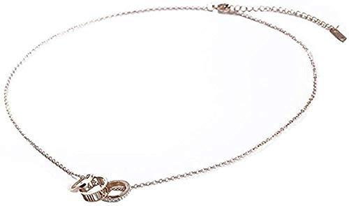 Collar Temperamento Diamante número Romano Anillo de Dedo Colgante Titanio Acero Corto Oro Rosa Cadena de clavícula Amor Femenino