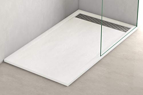 Plato ducha resina antideslizante textura pizarra Lane Bricodomo 70x150 Blanco