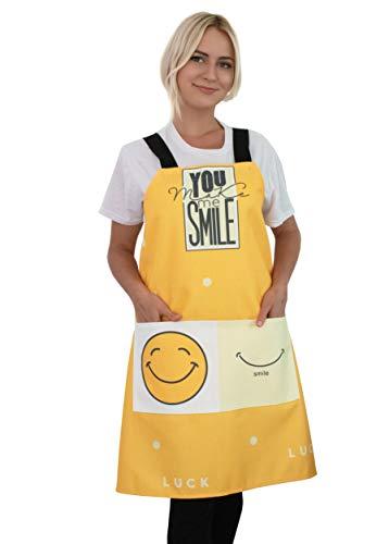 JANOO Küchenschürze – Kochen, Backen, Smiley, lustig, Emoji, Cartoon, faltenfrei, niedliche Latzschürze mit Taschen für Damen und Herren (gelb)
