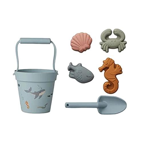 Sandspielzeug für den Strand,Sandspielzeug Sandkasten Spielzeug Set für Sommer,Wasser,Strandspiele,Flexible Silikon-Schaufel und Form,6...