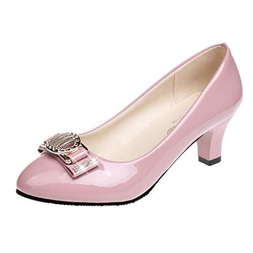 Damen Klassische Pumps in Lackoptik Basic Absatzschuhe Mittelhohe Elegante Schuhe Bequem Frühling Sommer Sandalen Celucke (Beige, EU39)