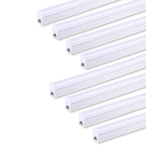 (Pack of 8) Hypergiant LED T5 Integrated Single Fixture, 4FT, 2200lm, 6500K (Super Bright White), 20W, Utility Shop Light, Ceiling and Under Cabinet Light, Corded Electric with Built-in ON/Off Switch